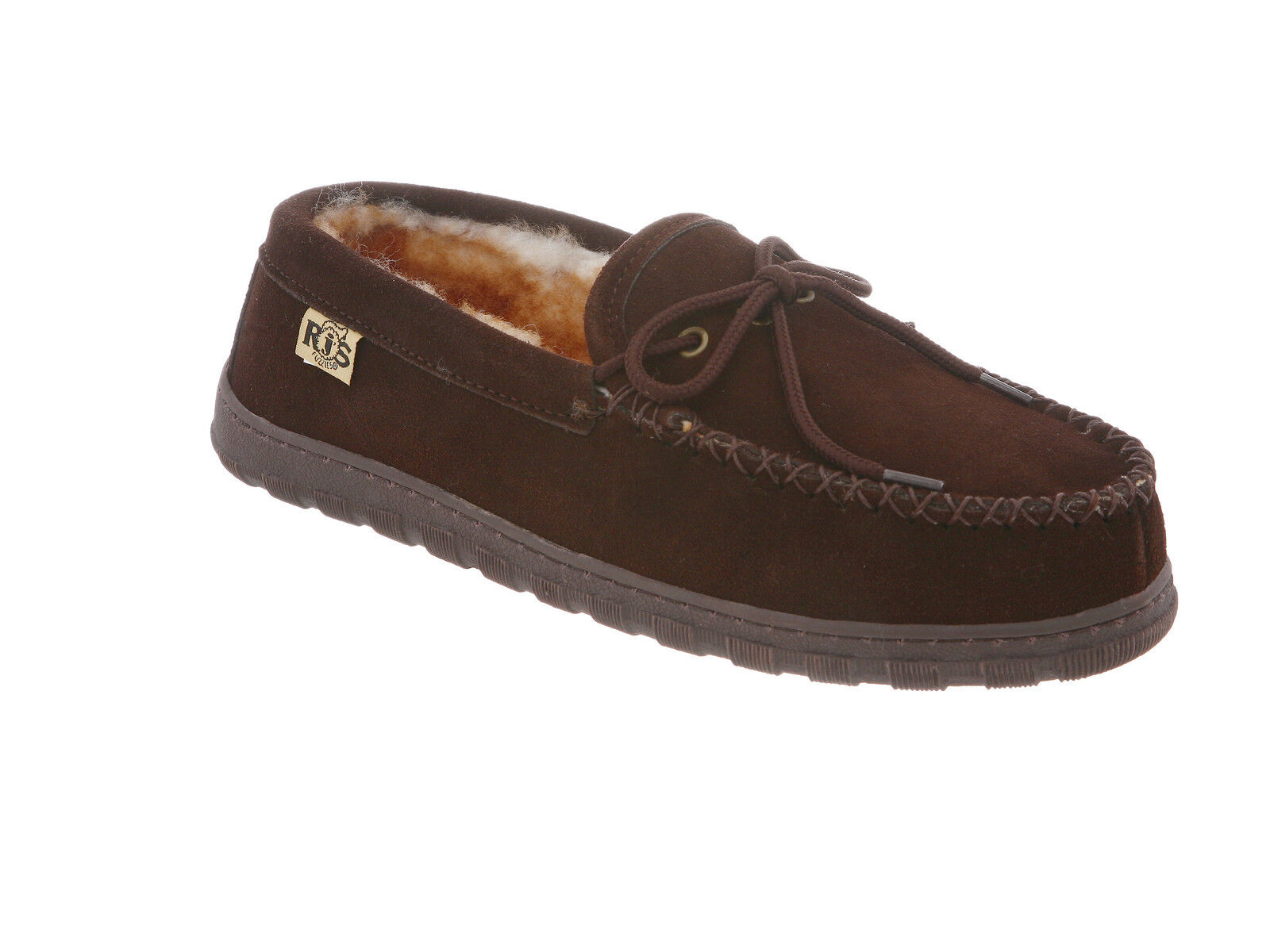 Rj's Fuzzies Sheepskin Slipper shoe Men's Moc Chocolate Medium ( D, M )