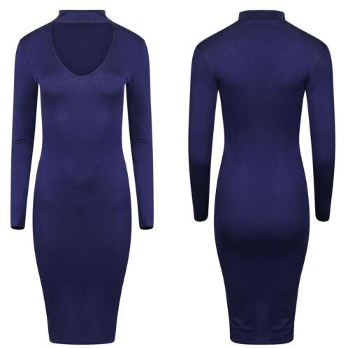 New Long Sleeve Choker Neck Womens V Neck Midi Ladies Dress Plus Big Size 8-26