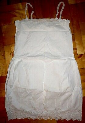 Nachthemd Nachtkleid Unterrock Leibwäsche Edle Spitze Uralt Baumwolle Unbenutzt