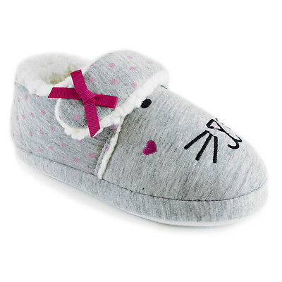 Girls Pink Or Grey Bunny Rabbit Touch Fasten Jersey Full Slippers In 4 UK Sizes