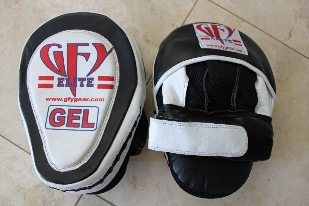 GFY Elite All Leather  Gel Curved Focus Mitts (1 Pair) Strike Pads  sale