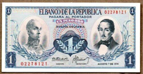 1973 P-404e Andean Condor Unc Colombia 1 Peso Oro