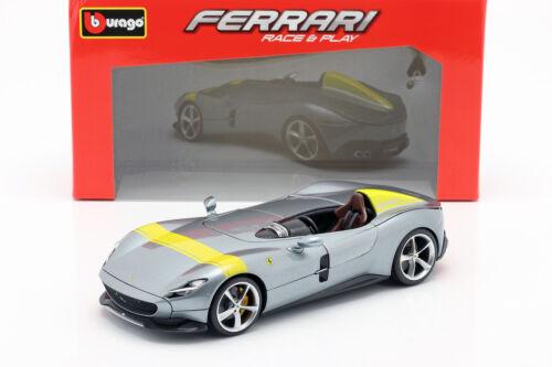Ferrari Monza sp1 año de fabricación 2019 gris metalizado//amarillo 1:18 Bburago
