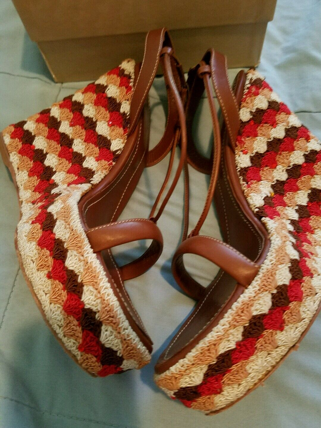Sergio Rossi Crochet and Leather Platform Wedges 41