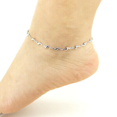 Foot Jewelry Stainless Steel Anklets Shinning Water Wave Ankle Bracelets Ssa009 Anklets