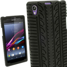 Black Silicone Tyre Skin Case Cover for Sony Xperia Z1 C6902 L39H + Screen Prot.