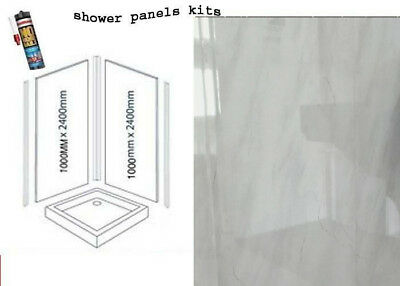 LIGHT GREY MARBLE  SHOWER WALL PANELS KITS 2X1M X 2400X 10MM THICK