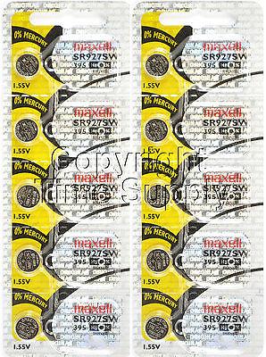 Maxell 395 SR927SW SR927 V395 D395 LA Watch Battery 0% MERCURY ( 10 PC )