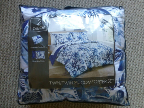 Twin Twin XL Comforter Reversible Floral Blue White & Sham NEW