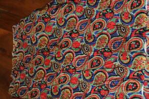 VINTAGE-FRENCH-DEADSTOCK-1940-039-S-COLORFUL-SILK-METALLIC-FABRIC-4-YDS-X-40-034-W