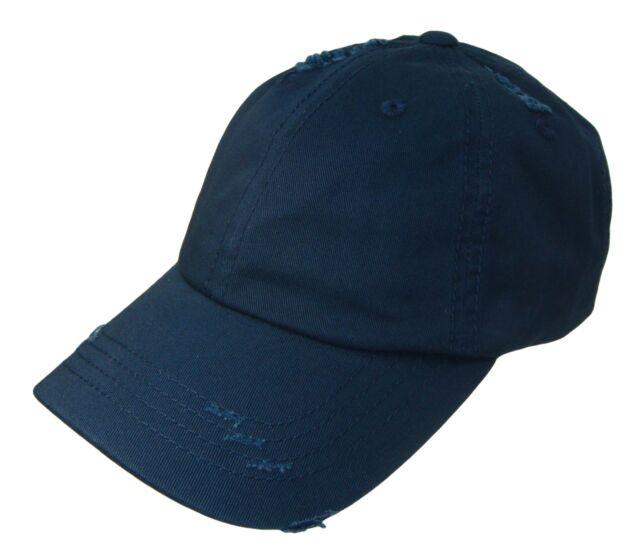 6db075455e4 Navy Blue Vintage Distressed Retro Low Profile Polo Baseball Cap Caps Dad  Hat