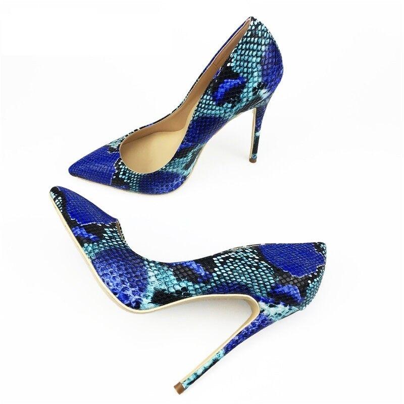 Zapatos de de de mujer azul serpiente Impreso Sexy Tacones De Aguja Bombas De Taco Alto Puntera en Punta Delgada  preferente
