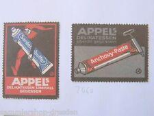 2 REKLAMEMARKE für Appels Delikatessen plakative Künstlerentwürfe für Sardellen