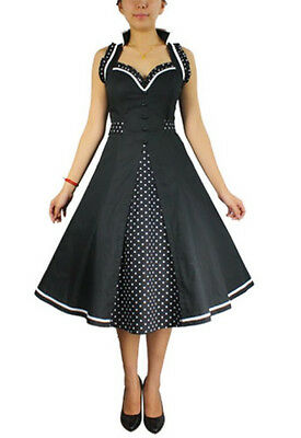 Plus Size Retro 50's Black Polka Dot Rockabilly Ruffle Dress 1X