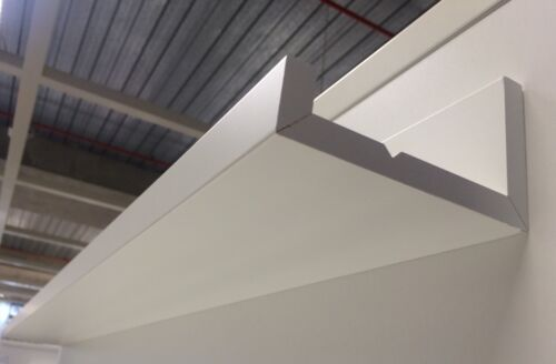 3x SIMPLY MATTE WHITE 55CM x 12CM FLOATING WALL SHELVES W// CENTRE GROOVE $59EA