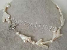 schön weiße barock Süßwasser-Zuchtperlenkette 46cm