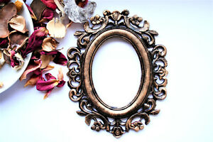 Gothic Photo Frames Black Oval frame Covered With Gold Patina Vintage Frame