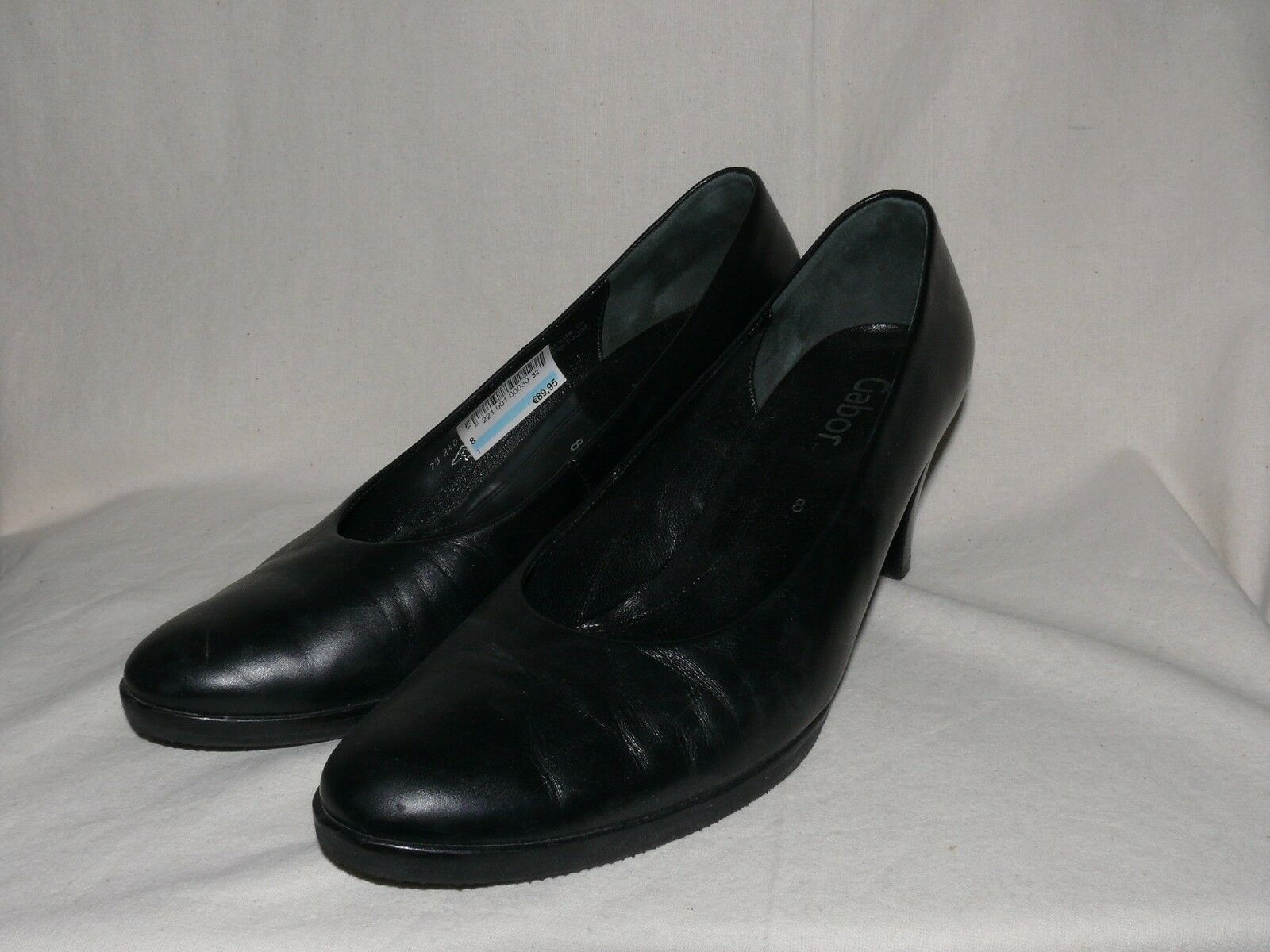 Gabor Clásico Cuero Bombas Zapatos Negro de Noche Negro Zapatos Talla 8 como Nuevo fd1e01