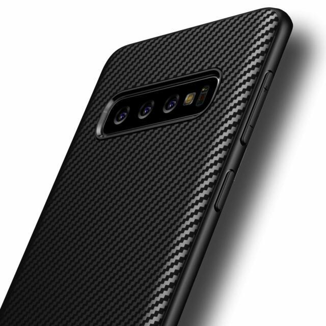 Samsung Galaxy S10 Plus Hülle Schutzhülle TPU Silikon Case Schwarz Carbon Optik