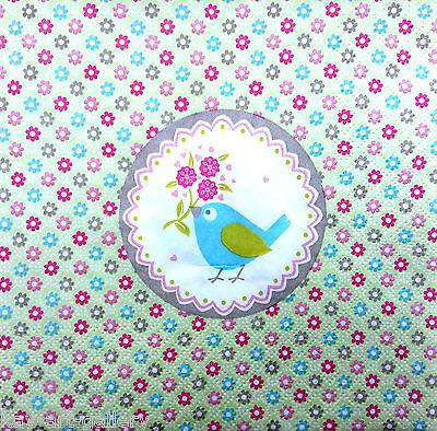 4 x Single Vintage Table Paper Napkins / Craft / for Decoupage / TWEET BIRD