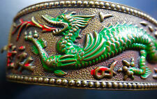 antique Chinese red green enamel fire breathing dragon cuff bangle bracelet D456