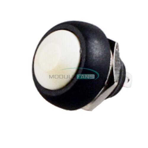 10PCS Blanco 12 mm Impermeable momentáneo de encendido//apagado interruptor de Botón Mini Redondo