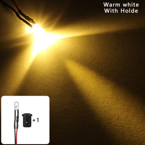 12V Plastic Holder Round Pre-Wired 5mm LED Light multi-color Emitting Diode