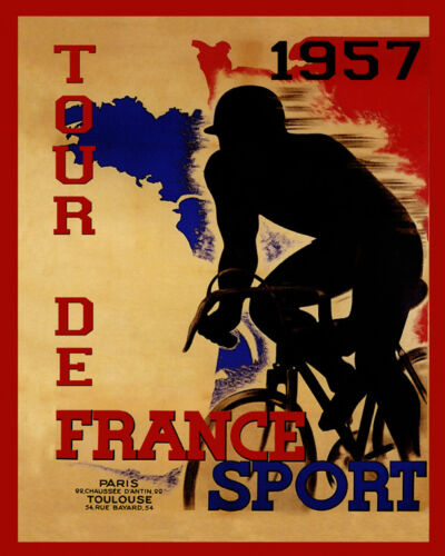 "Tour de France 1957 French World Bicycle Cyle 16/""X20/"" Vintage Poster FREE SH"