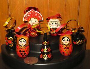 SANTA-Snow-Maiden-7-Christmas-Tree-Khokhloma-hand-painted-Ornaments-Russian-SET