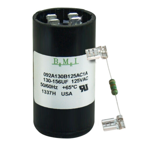 130-156 uF x 125 VAC BMI 092A130B125AC1A Motor Start AC Capacitor with Resistor