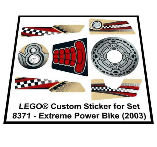 Lego® Custom Sticker for Drome Racers 8371 2003 Extreme Power Bike