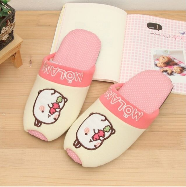 Molang Lovely Cute rabbit Bunny Living Room Shoes (Pink)