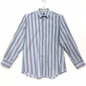 Scott-Barber-Shirt-Mens-Size-M-Medium-Blue-Striped-Long-Sleeve-Button-Front