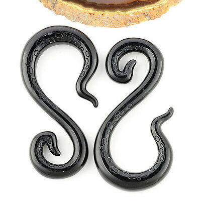Carve Resin Hook Ear Expander Stretcher Plugs Earrings Spiral Gauge 8G -00G Punk