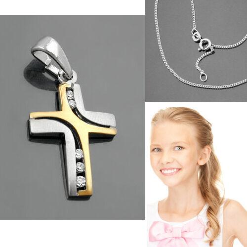 Los niños bautizo primera comunión cruz real plata 925 remolque bicolor con cadena nuevo