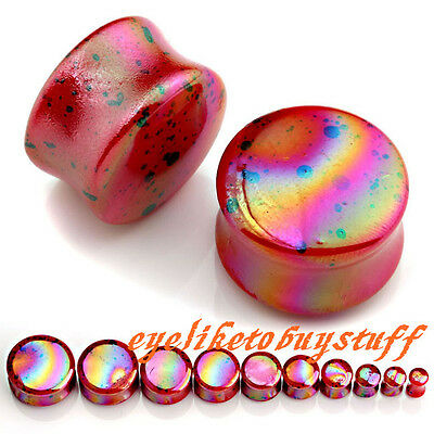 Pair 4-20mm Glaze Dark Red Dot Acrylic Double Flare Ear Tunnel Plug Expander