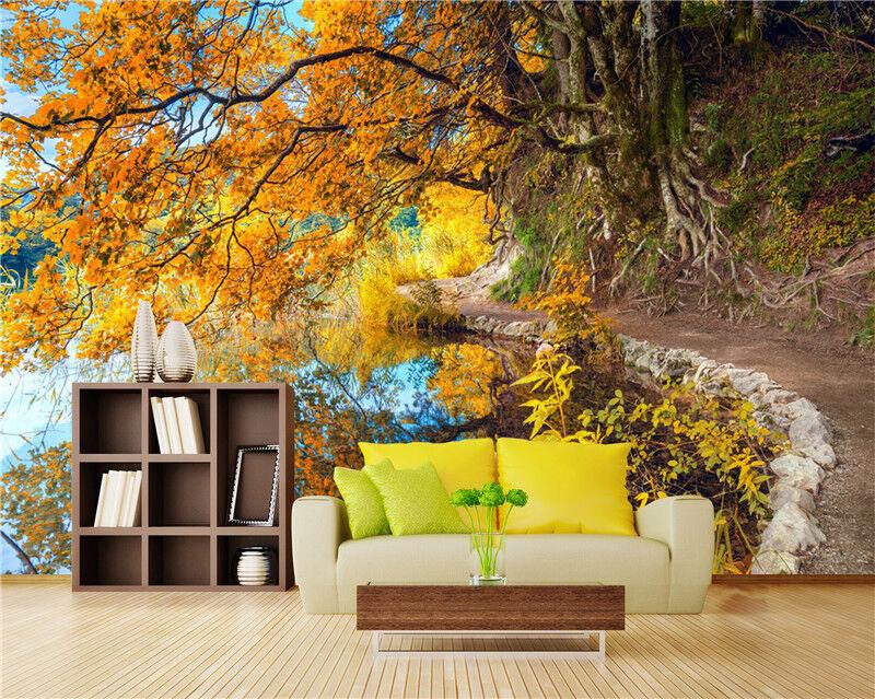 3D Herbst Wälder Natürlich 8803 Tapete Wandgemälde Tapeten Bild Familie DE Lemon