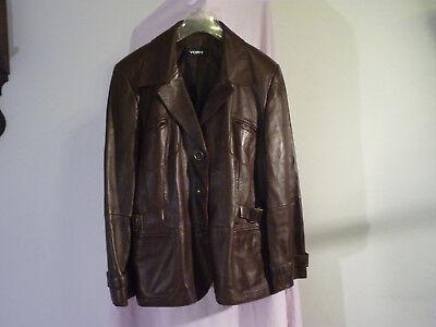 Details zu NEU! YORN d braune edel Lederjacke Blazer m. schöne Details Gr.42