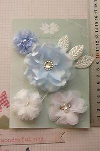 LITTLE-BOY-BLUE-Fabric-Mixed-Designs-4Flowers-35-75mm-across-3Leaves-Green-Tara