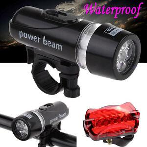 5-LED-Lamp-Bike-Bicycle-Front-Waterproof-Head-Light-Rear-Safety-Flashlight-Set