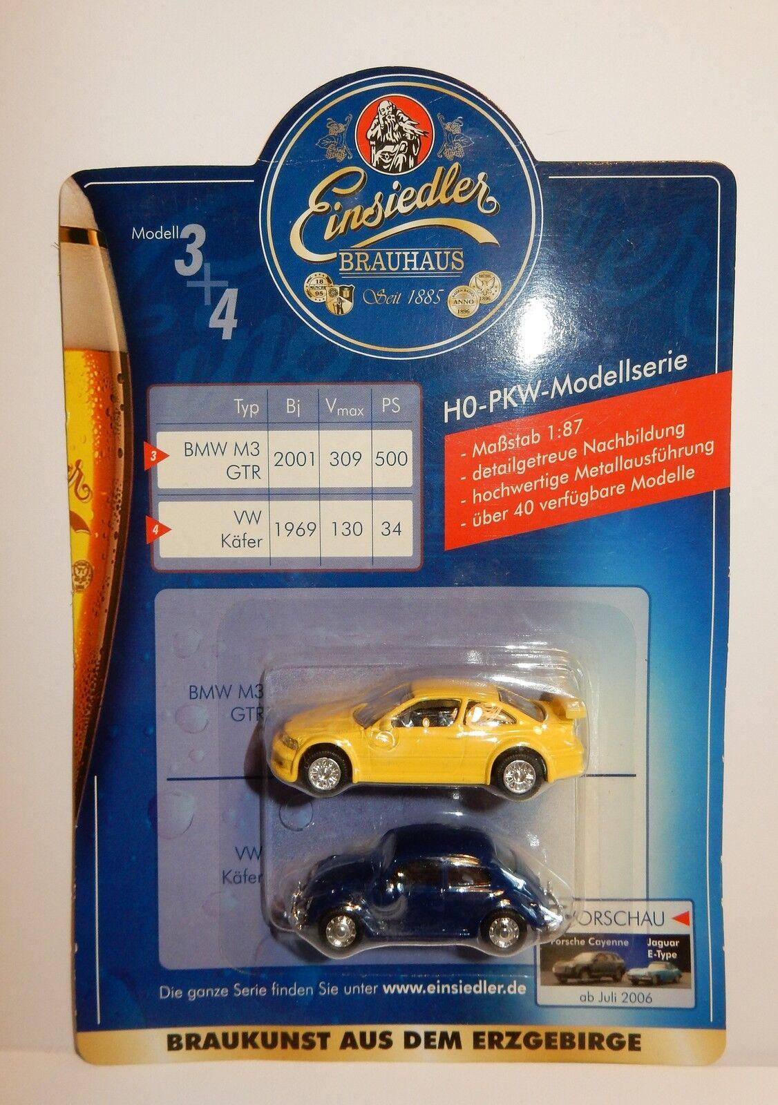EINSIEDLER BRAUHAUS BEER HO 1 87 BMW M3 GTR 2001 VW KAFER 1969 METAL BRAUKUNST