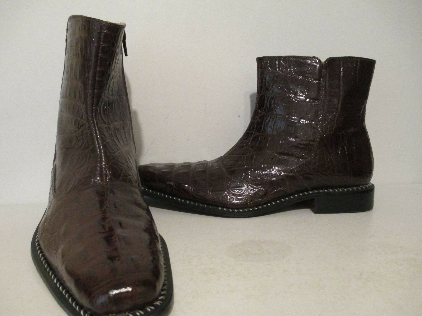 Giorgio Brutini Uomo Canto 20020 Hornback Croco Print Dress Boot Brown Size 11 M
