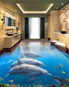 3D United dolphins 53 Floor WallPaper Murals Wall Print 5D AJ WALLPAPER UK Lemon