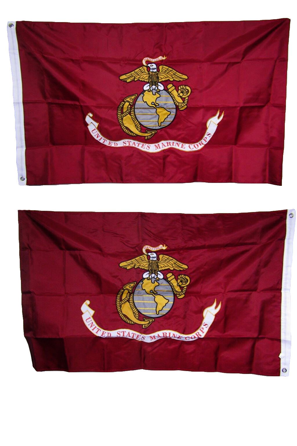 (Lot of 10) 3x5 Embroiderot Marines Marine Corps USMC Double Sided Nylon Flag