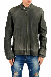 Just-Cavalli-Men-039-s-100-Suede-Leather-Distressed-Full-Zip-Jacket-Size-3XL-4XL