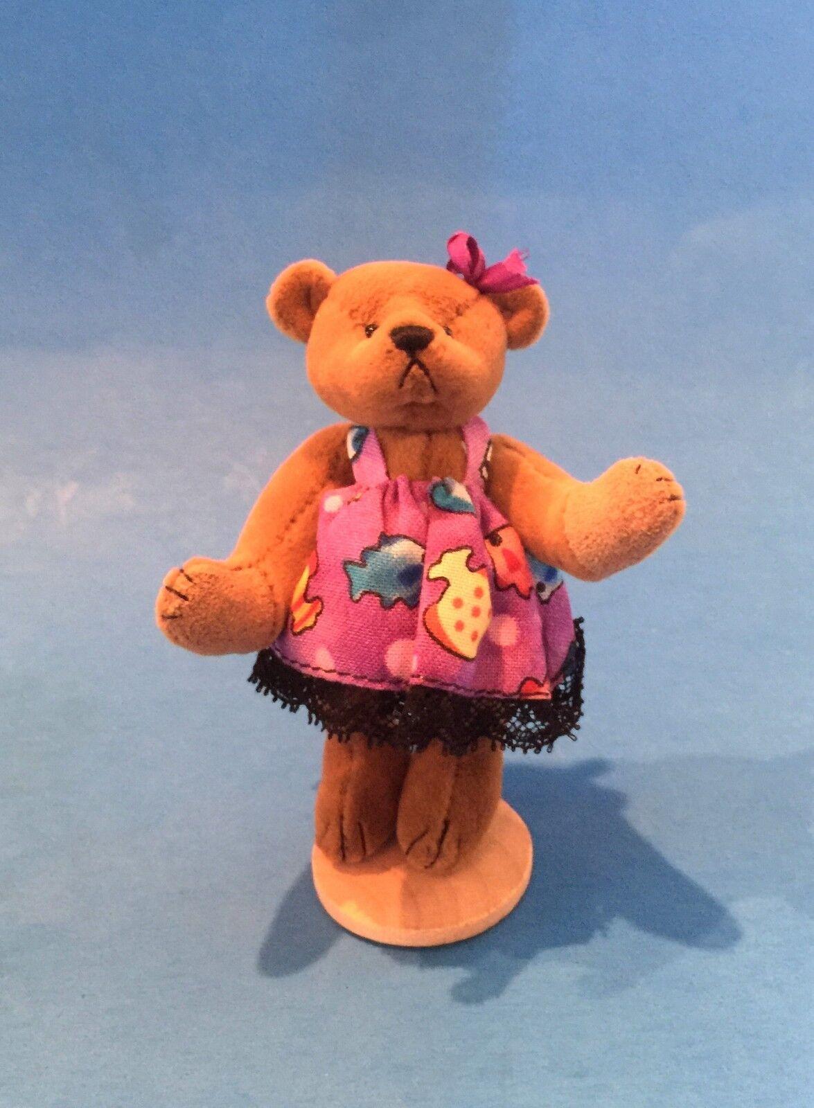 DEB CANHAM   JAMIE P  3 1 2  FULLY JOINTED MINIATURE BEAR WITH púrpura DRESS