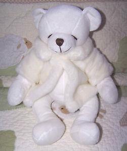 "Russ BEARELLA White Stuffed Polar Bear wearing a White Fluffy Jacket 16"" EUC"