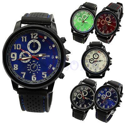Men Military Army Quartz Analog Unisex Sport Silicone Wrist Watch Rubber Strap
