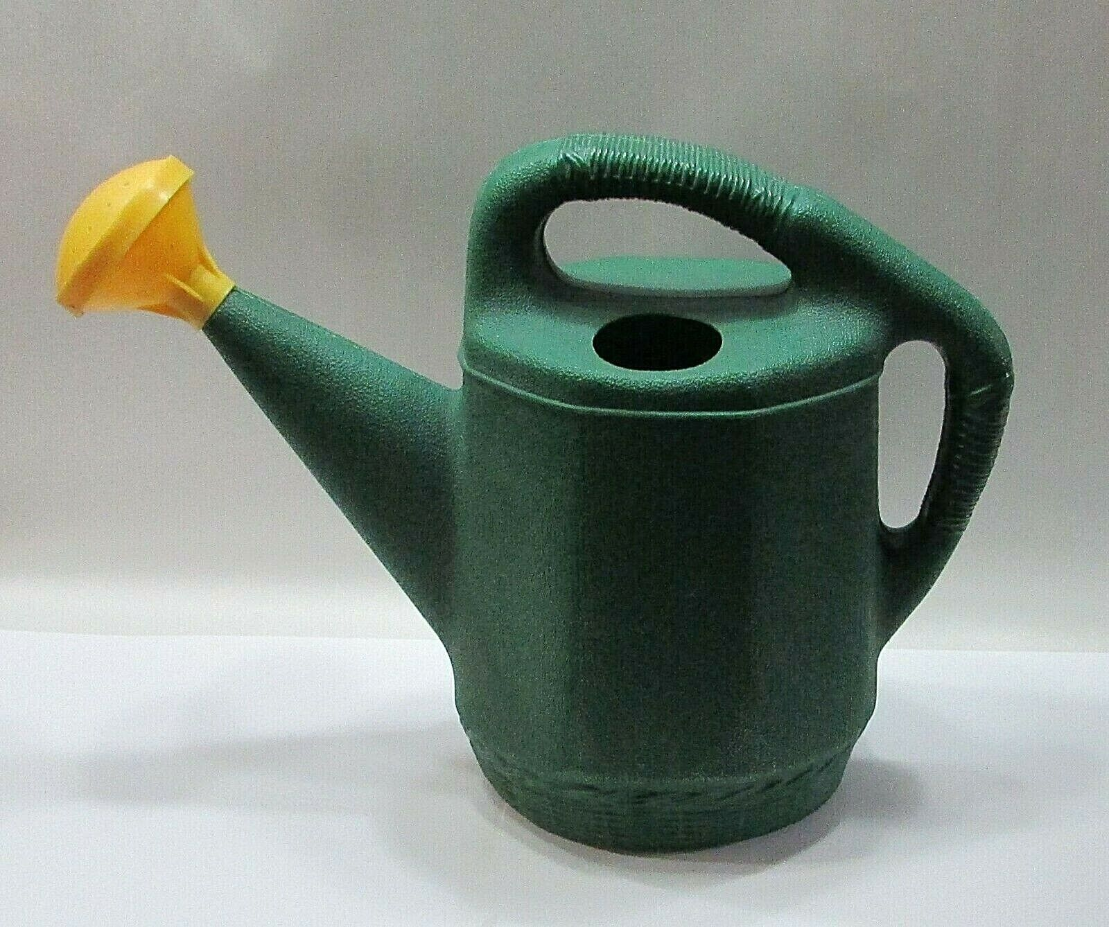 Canada 1980's Blow Mold Green Plastic Yellow Sprinkler Plant Water Can FREE S/H