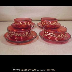 4 Antique Cranberry Glass Finger Bowls & Underplates Hand Painted Gold Trim